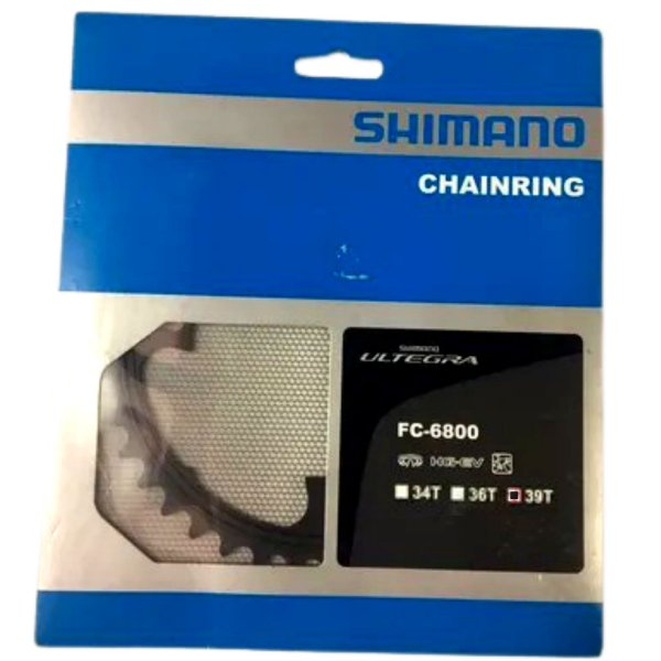 ENGRENAGEM SHIMANO ULTEGRAFC-6800 39 DENTES BCD 110 MM - ALUMÍNIO | PRETO