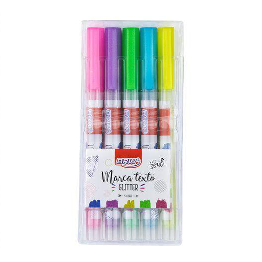 Marca Texto Glitter com 5 cores - BRW