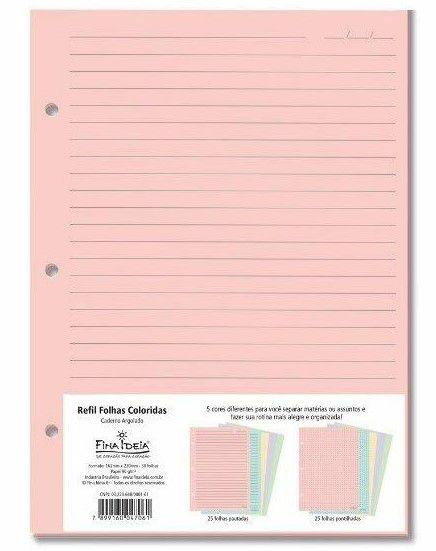 Refil Colorido Caderno Argolado - Fina Ideia