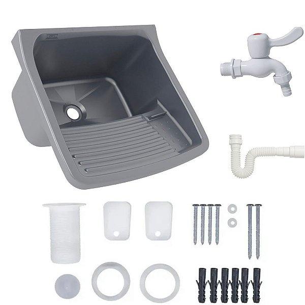 Tanque Plástico 22 litros (Prata (PRA)) completo com sifão, torneira e acessórios - PRATA