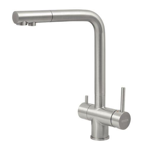 Misturador Monocomando Tramontina Monde Filter Plus em Aço Inox com Saída Adicional para Água Filtrada + Filtro 3M