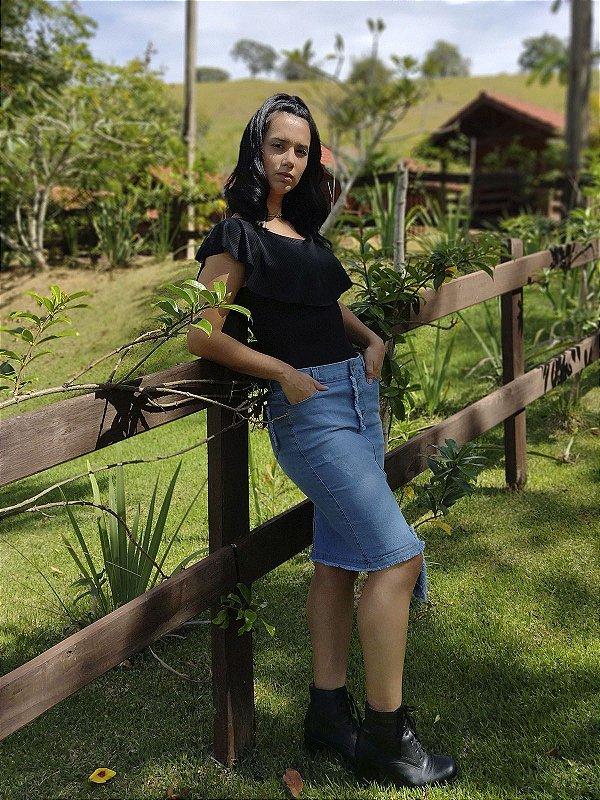 Saia Jeans Secretária Com Desfiado Na Vista