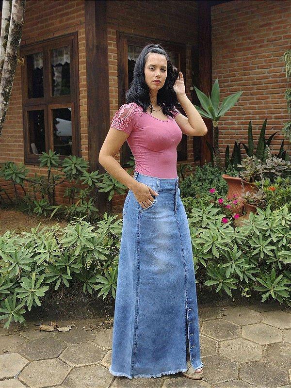Saia jeans Longa Com Barra Desfiada
