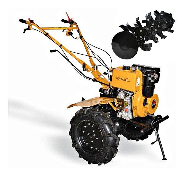 """Motocultivador A Diesel Buffalo 10hp Partida Elétrica Roda 13"""" Bfde 1120 Mc7"""