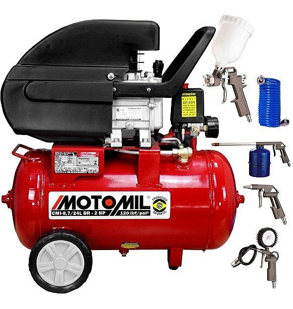 Compressor De Ar 24 Litros Motomil 8,7pés Bivolt com Kit Pistola Ck5