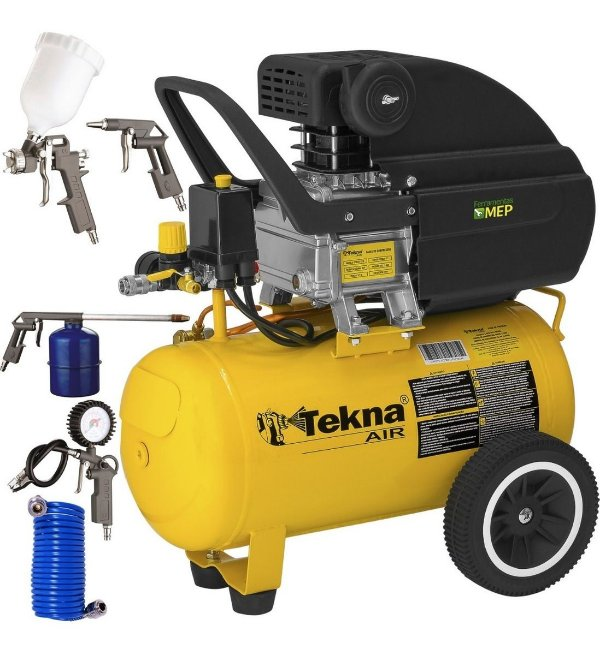 Compressor De Ar 24 Litros Tekna Tekna + Kit Pistola Kala Ck2