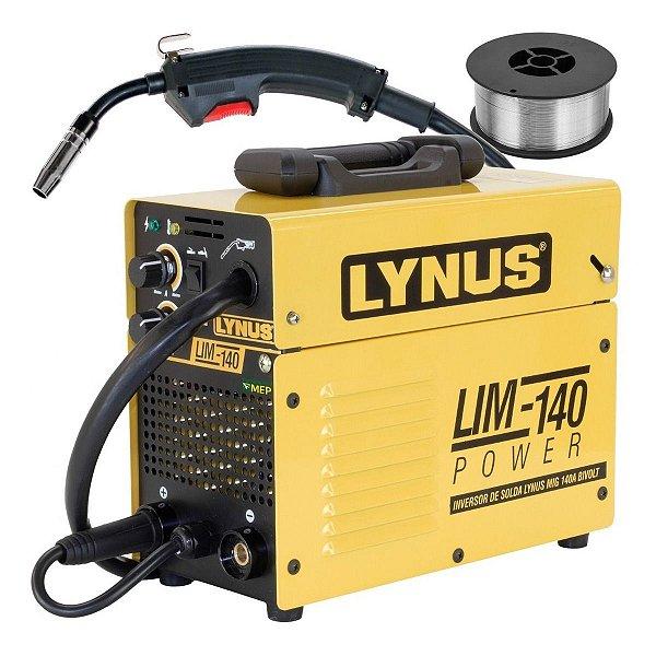 Máquina Solda Mig Tig Mma 140A Lynus Lim140 + Arame 1Kg Lz0