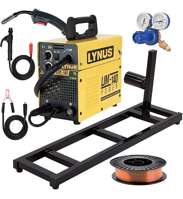 Máquina de Solda Mig Tig Eletrodo Lynus 140amp com Regulador Base Arame 5kg Lz2