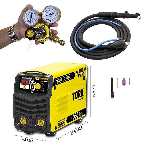 Máquina De Solda 2 Em 1 Mma + Tig Super Tork Kab150 Micro Bivolt Com Tocha Tig e Regulador Tt3