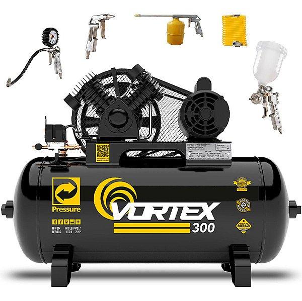 Compressor De Ar 10 Pcm/100L Pressure Vortex 300 + Kit Pistola Pintura e Limpeza Cp3