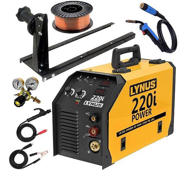 Máquina De Solda Mig Tig Eletrodo Lynus 220i Base Regulador Arame 15kg Ly7