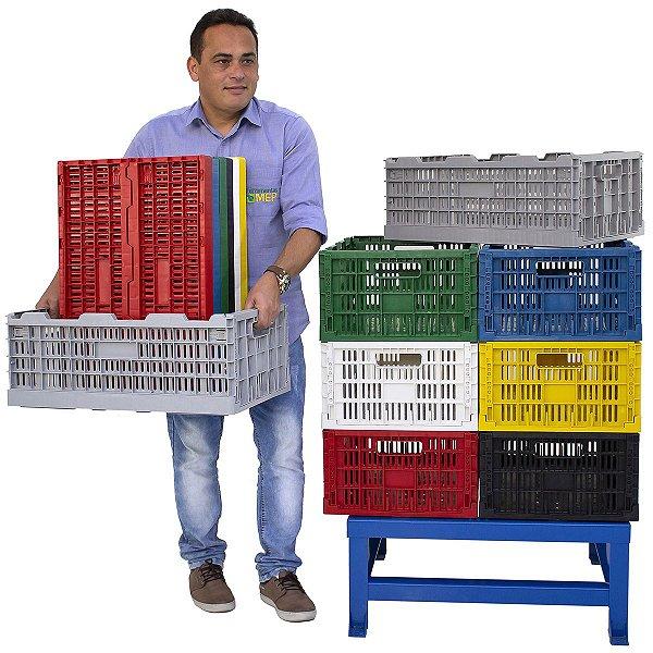 Caixa Plástica Dobrável Desmontável Cap. 40kg / 3 Peças Cd3