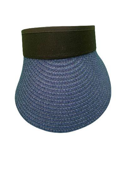 Viseira palha azul
