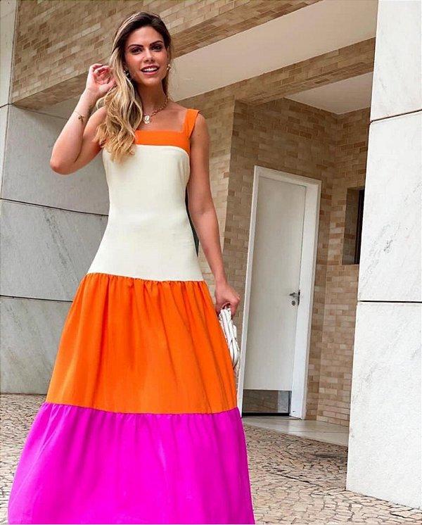 Vestido Tricolor Faixa