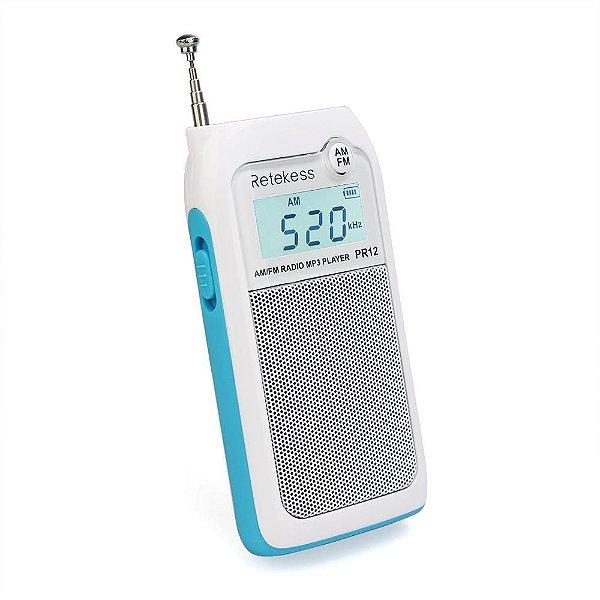 Mini Rádio Bolso Portátil Am Fm Recarregável C/ Alto Falante - cor Branca