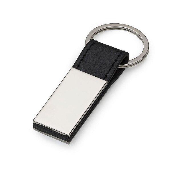 Chaveiro metálico com detalhes em couro personalizado - Cód.: 10026XQ