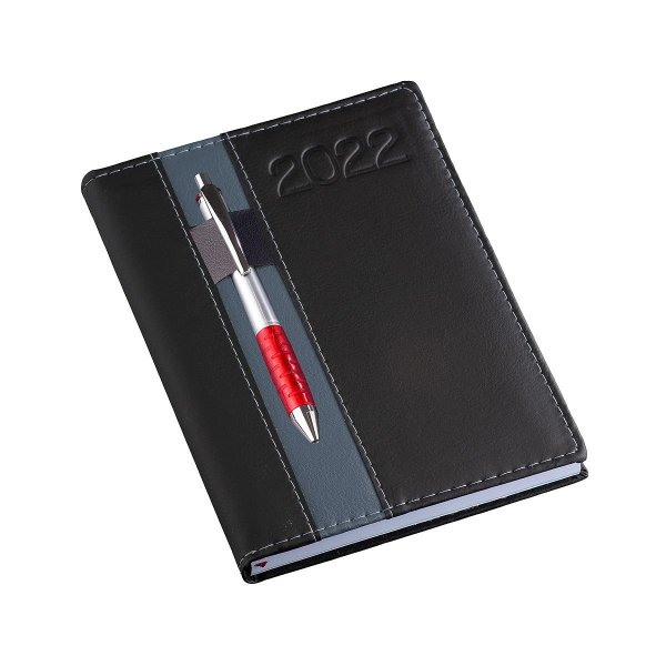 Agenda diária com capa em couro sintético e porta caneta - Cód.: 133LQ