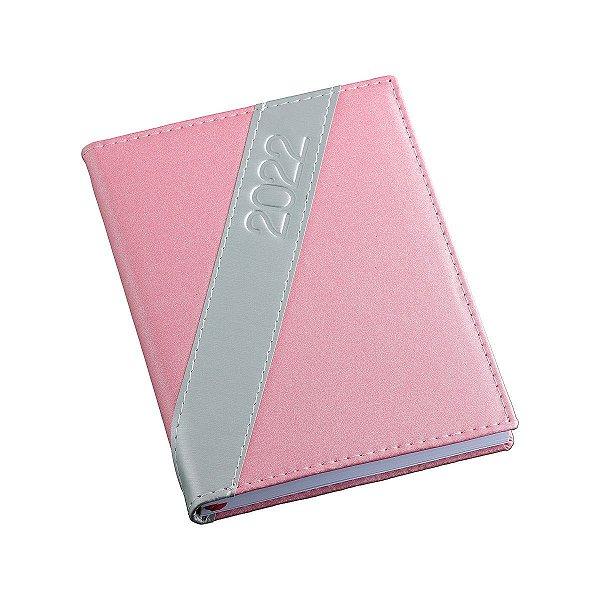 Agenda diária com capa metalizado rosa personalizada - Cód.: 185LQ