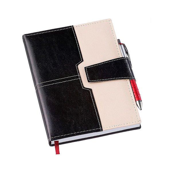 Agenda diária com capa em couro sintético e fecho ímã - Cód.: 194LQ