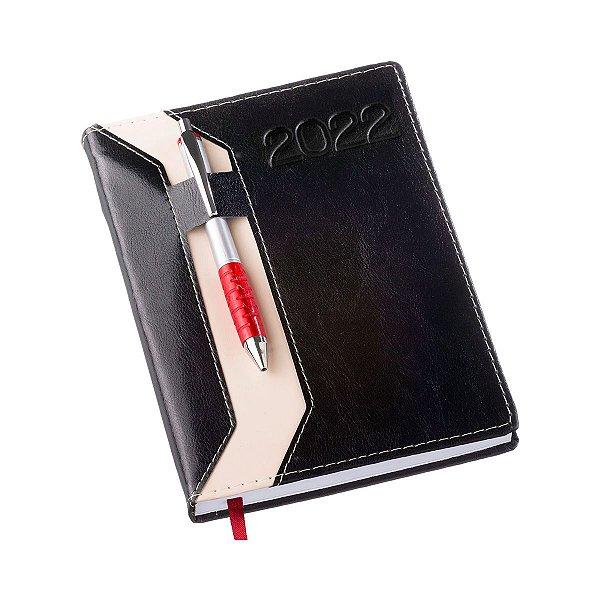 Agenda diária com capa em couro sintético e porta caneta - Cód.: 205LQ