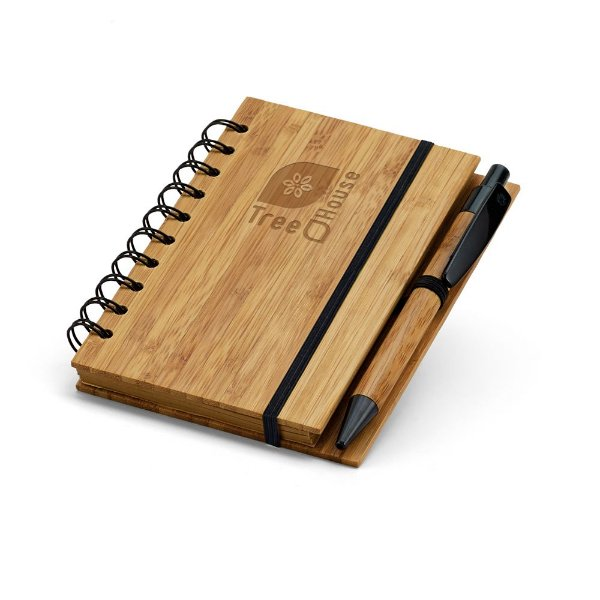 Caderneta ecológica com pauta capa e caneta em bambu - Cód.: 93486SQ