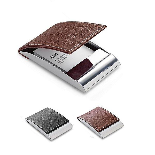Porta cartões metálico encapado em couro sintético - Cód.: 93308SQ