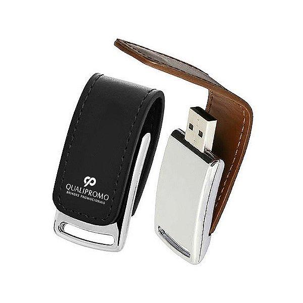Pen drive com capa em couro e fecho ímã personalizado - Cód.: PC28GQ
