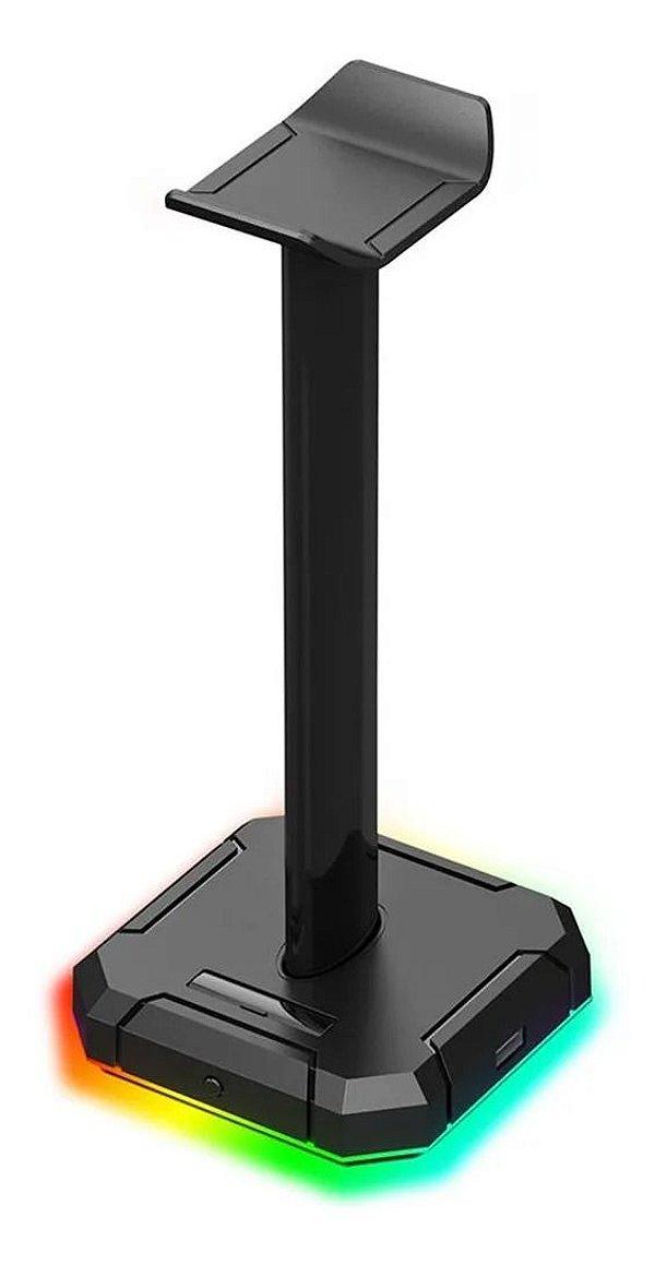 Suporte p/ Headset RGB Scepter HA300 Preto 4 USB 2.0 Redragon