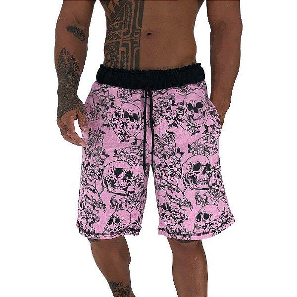 Bermuda Masculina Moletom MXD Conceito Caveira e Rosas Rosa Bebê