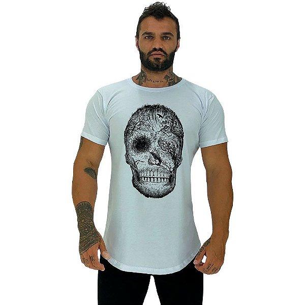 Camiseta Longline Masculina Manga Curta MXD Caveira Florestal