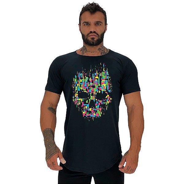 Camiseta Longline Masculina Manga Curta MXD Conceito Caveira Abstrata