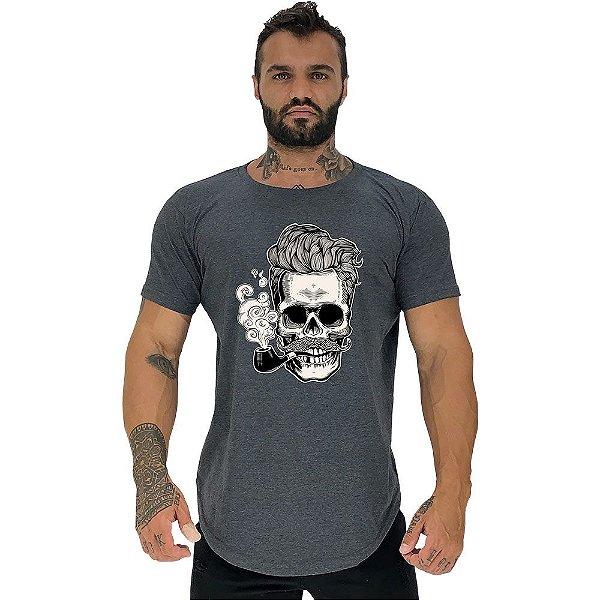 Camiseta Longline Masculina Manga Curta MXD Conceito Caveira Com Cachimbo