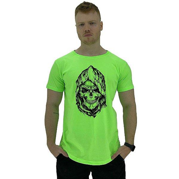 Camiseta Longline Manga Curta MXD Conceito Caveira Com Capuz