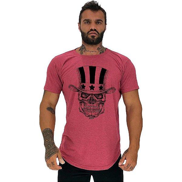 Camiseta Longline Masculina Manga Curta MXD Conceito Caveira Com Cartola