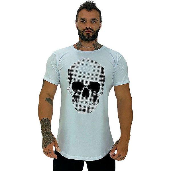Camiseta Longline Masculina Manga Curta MXD Conceito Caveira Quadricular