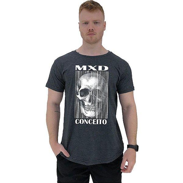 Camiseta Longline Masculina Manga Curta MXD Conceito Caveira Vertical