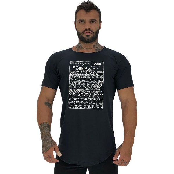 Camiseta Longline Masculina Manga Curta MXD Conceito Endless Beach Praia