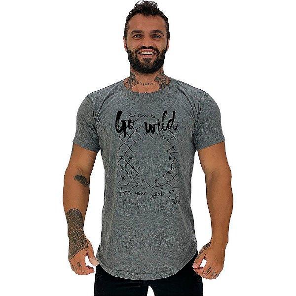 Camiseta Longline Masculina Manga Curta MXD Conceito Go Wild Free Soul