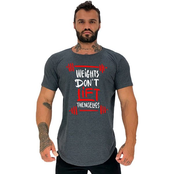 Camiseta Longline Masculina Manga Curta MXD Conceito Weights Don't Lift Themselves