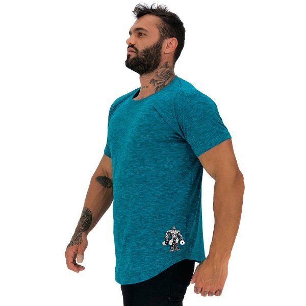 Camiseta Longline Masculina MXD Conceito Estampa Lateral Bodybuldier Halteres