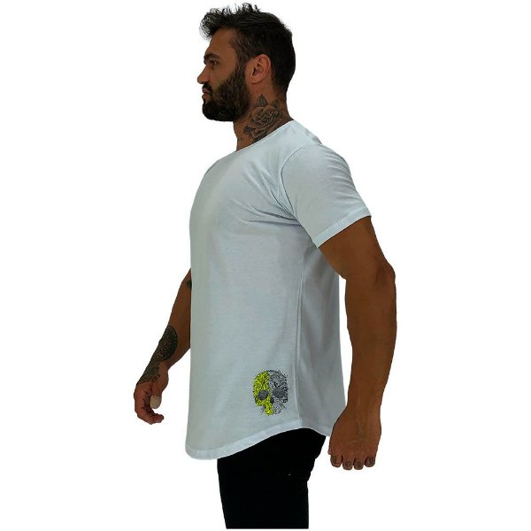 Camiseta Longline Masculina MXD Conceito Estampa Lateral Caveira Duas Cores