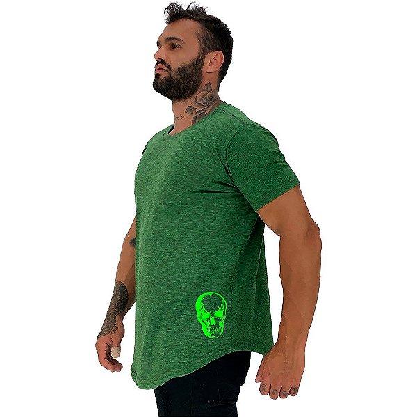 Camiseta Longline Masculina MXD Conceito Estampa Lateral Caveira Fluorescente
