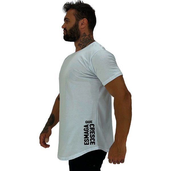 Camiseta Longline Masculina MXD Conceito Estampa Lateral Esmaga que Cresce