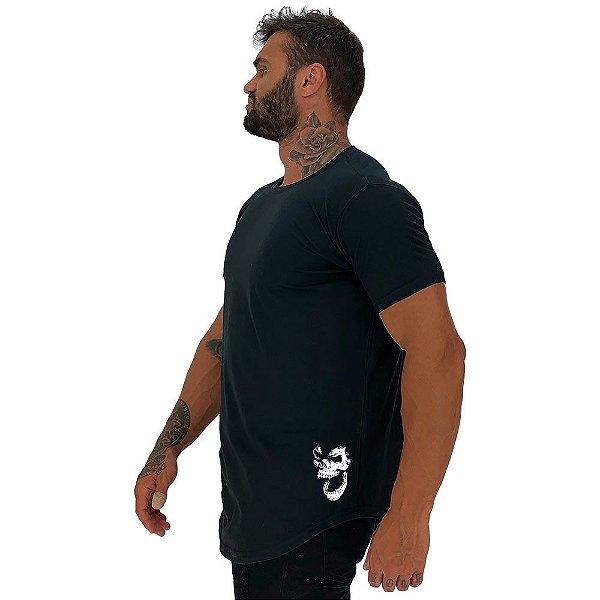 Camiseta Longline Masculina MXD Conceito Estampa Lateral Gorila