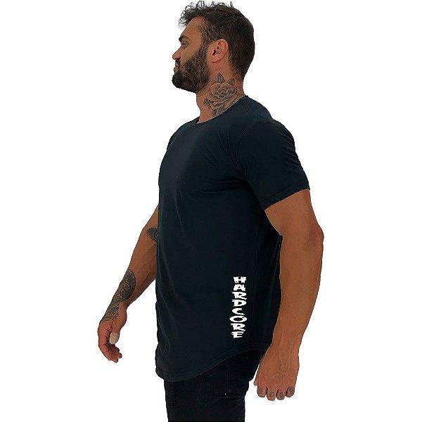 Camiseta Longline Masculina MXD Conceito Estampa Lateral Hardcore