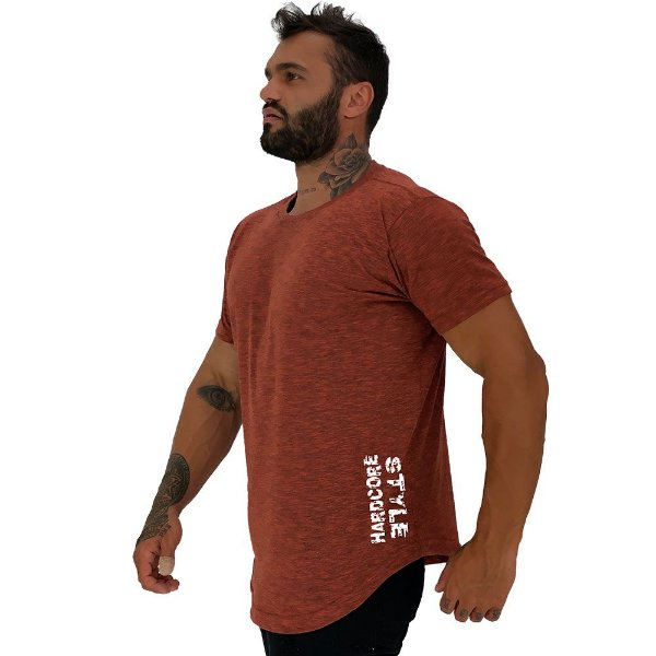 Camiseta Longline Masculina MXD Conceito Estampa Lateral Hardcore Style Pincel