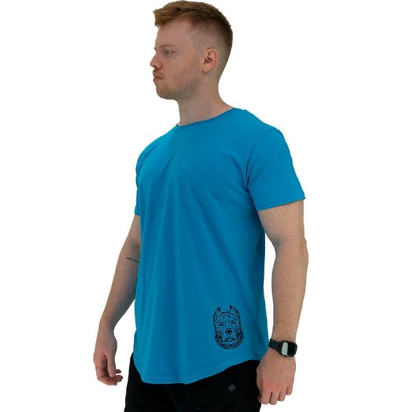 Camiseta Longline Masculina MXD Conceito Estampa Lateral Pitbull Corrente