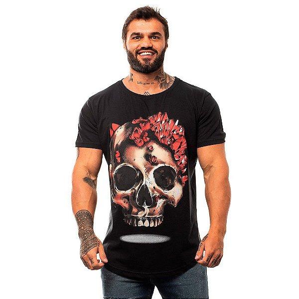 Camiseta Longline Masculina MXD Conceito Limitada Crystal Skull