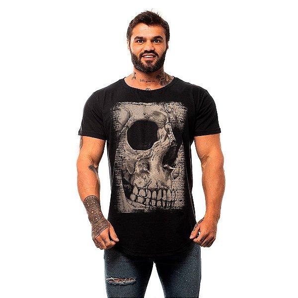 Camiseta Longline Masculina MXD Conceito Limitada Old Skull Caveira