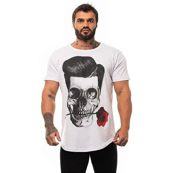 Camiseta Longline Masculina MXD Conceito Limitada Romantic Skull